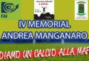 """Leonforte, il 4 ottobre si svolgerà il  """"IV Memorial Andrea Manganaro – Diamo un calcio alla mafia"""""""