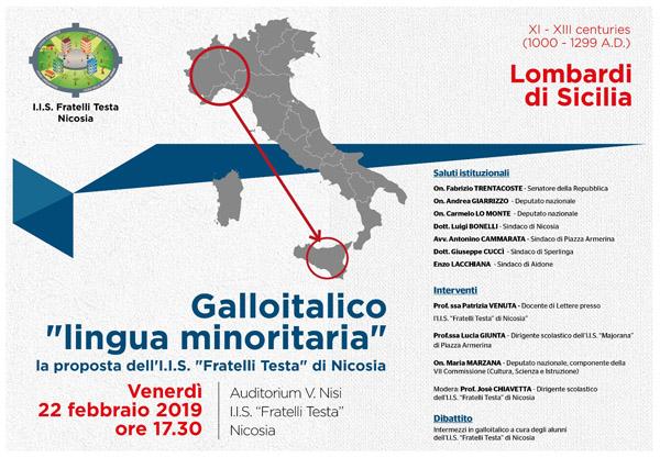 Galloitalico, venerdì 22 febbraio convegno a Nicosia per presentare la proposta di legge per il riconoscimento di lingua minoritaria