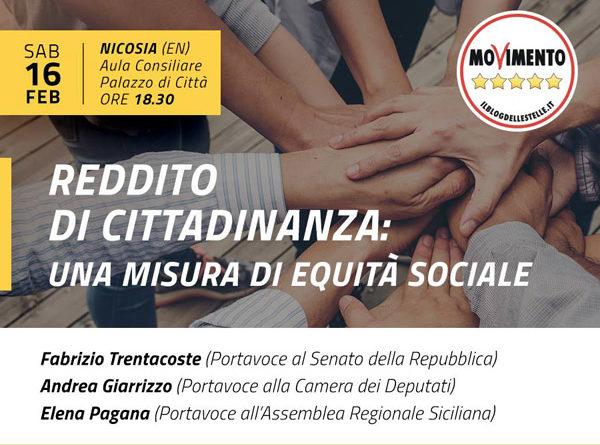 """Sabato 16 febbraio verrà presentata a Nicosia la misura del """"Reddito di Cittadinanza"""""""