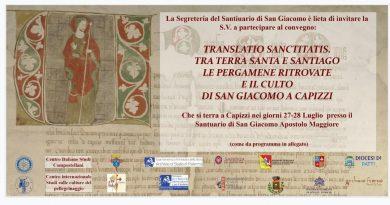 """Il 27 e 28 luglio Capizzi ospita il convegno """"Translatio sanctitatis. Tra Terrasanta e Santiago: le pergamene ritrovate e il culto di San Giacomo a Capizzi"""""""
