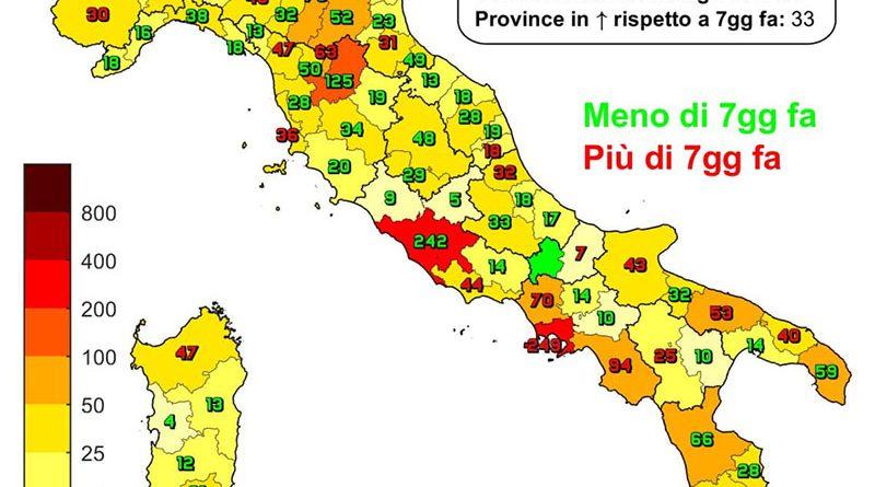 Coronavirus. In Italia il 16 settembre nelle ultime 24 ore i nuovi contagi sono 5.117, i decessi sono 67