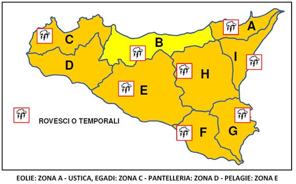Per il 24 ottobre previste condizioni meteo avverse in tutto il territorio della provincia di Enna